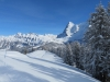 Sicht vom Allmendhubel; Schwarzer Mönch 2648m, Jungfrau, 4158m,  davor  Schwarzer Mönch 2648m, Gletscherhorn 3983m, Aebeni Fluh, Mittagshorn 3897m