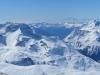 SIcht vom Corvatsch 3303m; Piz da la Margna 3158m, Piz Cam 2634m, Piz Duan 3131m;  ganz hi Monte Rosa und Mischabelgruppe
