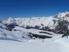 im  Skigbiet Furtschellas; Blick auf den Silsersee, Piz Cam 2634m, Piz Duan 3131m,  Lunghin  2707m, Piz  Lagrev 3164m
