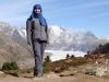 Marianne vor dem Aletschgletscher mit Wannenhörner, Strahlhorn