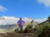 Marianne beim Aufstieg zur Hohfluh; Grosses Fusshorn 3626m, Rotstock 3701m, Geisshorn 3740m, Zenbächenhorn 3386m, Rothorn 3271m, Wannenhörner