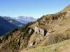 der weg dem Hang entlang; hi Blackenstock 2930m, Brunnistock 2952m, Uri Rotstock 2929m, Schlieren 2830m