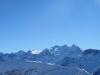 Panorama von  Kreuz  unterhalb Schönbühl 2011m: Hangend Gletscherhorn 3292m, Dossen 3138m, Wellhorn 3192m, Rosenhorn 3689m, Mittelhorn 3704m, Wetterhorn 3692m