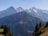 Panorama: vo Männlichen; Kl.Schreckhorn 3494m,  Schreckhorn 4078m, Lauteraarhorn 4042m, Finsteraarhorn 4275m, Fiescherhorn 4049m, Eiger 3970m, Mönch 4099m, Jungfraujoch, Jungfrau 4158m, Ebnefluh 3960m, Mittagshorn 3895m, Grosshorn 3765m, Lauterbrunnen Breithorn 3785m,