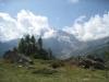 SIcht  auf Fletschhorn 3904m ( hinter den Wolken)