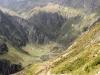 der Pfad am steilen Langchälengrätli; Sicht ins Leitschachtal; Krönten 3108m, Chli Krönten 2910m, Mäntliser  2876m, hi Ruchen 2628m,
