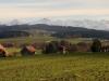 Blick von Herrebächle auf die Alpen: Eiger 3970m, Mönch 4099m, Jungfraujoch, Jungfrau 4158m,Gletscherhorn 3983m,  Ebnefluh 3960m, hi Aletschhorn 4195m, Mittagshorn 3895m, Grosshorn 3765m, hi Schinhorn 3797m,Lauterbrunnen Breithorn 3785m, Gspaltenhorn 3442m