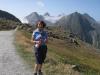Marianne auf dem Nufenenpass: Bättelmatthorn 3044m, Rothorn 3289m, Blinnenhorn 3373m, Merezebachschiije 3182m, vo re Fülhorn 2863m