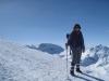 Marianne beim Abstieg  vom Weisshorn; wunderbare Winterlandschaft; Parpaner Weisshorn 2776m, Parpaner Schwarzhorn 2683m
