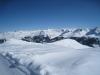 beim Abstieg  vom Weisshorn; wunderbare Winterlandschaft; li Rätschenflue; Stelli 2622m, Davoser  Weissfluh 2843m,  Schiahorn, Chüpfenflue 2658m. hi Schafgrind 2636m, Mederger Flue 2706m,   Tiejer Flue 2781m