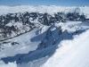 beim Abstieg  vom Weisshorn; wunderbare Winterlandschaft; Kirchlispitzen, Drusenfluh 2827m, Dri Türm 2830m,vo  Schafberg 2456m, Sulzfluh 2817m, Schollberg 2570m, Rätschenhorn 2826m ; re Stelli, Davoser Weissfluh