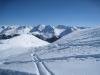 beim Abstieg  vom Weisshorn; wunderbare Winterlandschaft; Sicht gegen  li vo Brüggerhorn 2447m