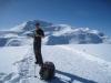 der Winterwanderweg vom Weisshorn hinunter; kurze Rast