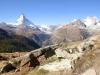 Matterhorn 4478m, Dent Blanche 4356m, Obergabelhorn 4063m, Wellenkuppe 3003m