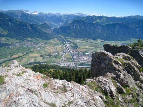 Blick auf Landquart ; Dri Türm, Sulzfluh; Eingan Prättigau; Haupt