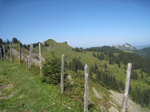 Blick vom First auf unser Ziel, den Flügenspitz 1703m; re Rotberg, Schär und Goggeien