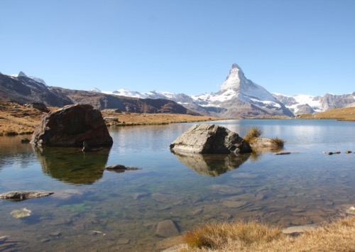 Stellisee 2537m mit Breithorn, kl. Matterhorn, Matterhorn 4478m